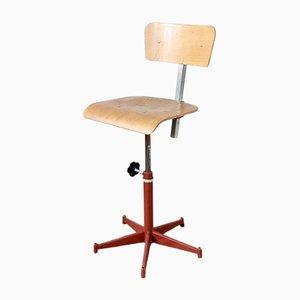 Chaise Pivotante Vintage Industrielle avec Cadre Rouge