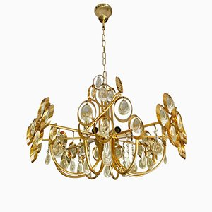 Gilded Brass and Crystal Chandelier by Palwa, 1970s