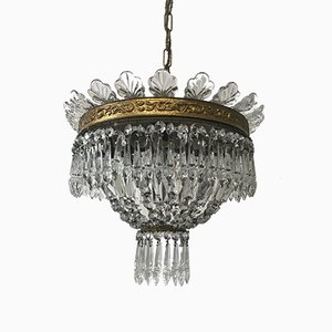 Lámpara de araña vintage de cristal
