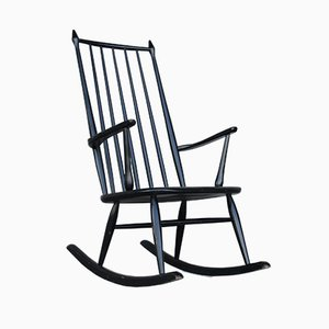 Mid-Century Rocking Chair in Black Lacquered Wood, 1960s