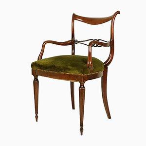 Italian Mid-Century Wooden & Green Velvet Armchair