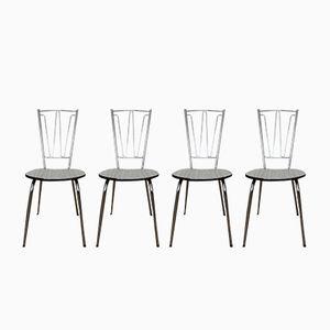Französische Metall & Formica Stühle, 1970er, 4er Set