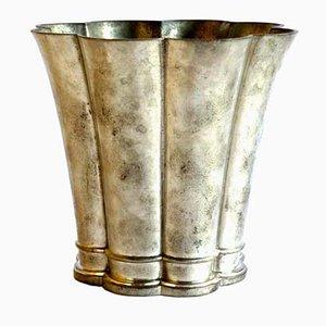 Vase ou Pot Vintage en Métal de Just Andersen, Danemark