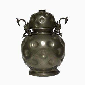 Art Deco Zinn Vase mit Deckel, 1950er