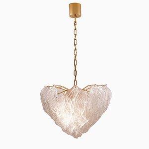 Lámpara de araña vintage en forma de hojas de cristal de Murano de Novaresi