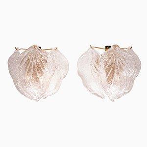 Apliques vintage en forma de hojas de cristal de Murano de Novaresi. Juego de 2