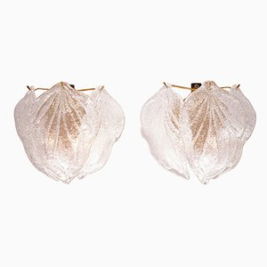 Vintage Murano Glass Leaf Sconces from Novaresi, Set of 2