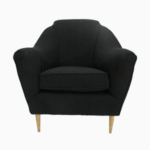 Italian Black Armchairs, 1950s, Set of 2
