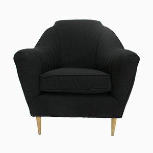 Italienische schwarze Armlehnstühle, 1950er, 2er Set