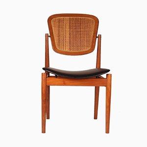 Chaise de Bureau en Teck, Jonc & Cuir par Arne Vodder pour France & Søn, 1960s