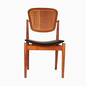 Teak, Cane & Leather Desk Chair by Arne Vodder for France & Søn, 1960s