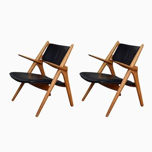 Model CH28 Sawbuck Chairs by Hans J. Wegner for Carl Hansen & Søn, 1950s, Set of 2