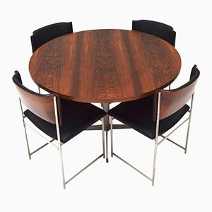 Model SM-08 Round Brazilian Rosewood Dining Set by Cees Braakman for Pastoe, 1950s