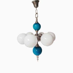 Vintage Spanish Pendant Lamp in Blue & White