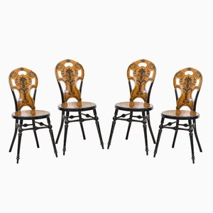 Antique Austrian Wooden Chairs, Set of 4