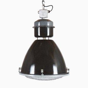 Lampada a sospensione da fabbrica in vetro, anni '50