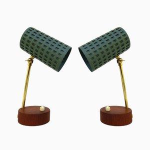 Lámparas de mesa escandinavas chapadas en teca. Juego de 2