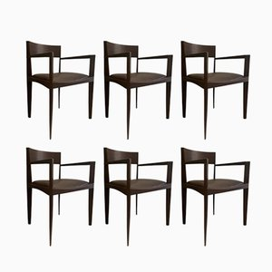 Vintage Italian Dining Chairs in Dark Brown Leather, Set of 6