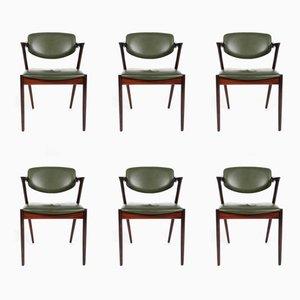 Chaises de Salle à Manger Modèle 42 Vintage par Kai Kristiansen pour Schou Andersen, Set de 6