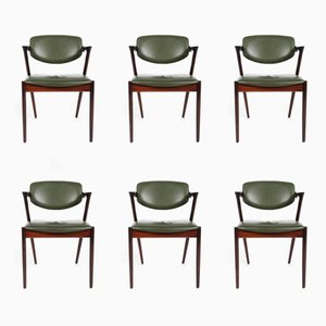 Vintage Model 42 Dining Chairs by Kai Kristiansen for Schou Andersen, Set of 6