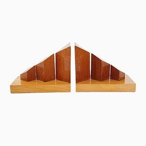Französische Mid-Century Holz Buchstützen, 1950er, 2er Set