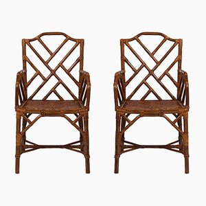 Vintage Bamboo Side Chairs, Set of 2