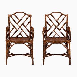 Vintage Bambus Stühle, 2er Set