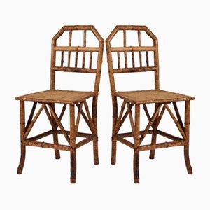 Viktorianische Bambus Stühle, 2er Set