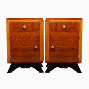 French Walnut Bedside Cabinets, 1930s, Set of 2