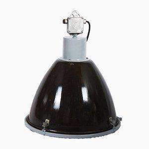 Lámpara colgante industrial de acero esmaltado, años 70