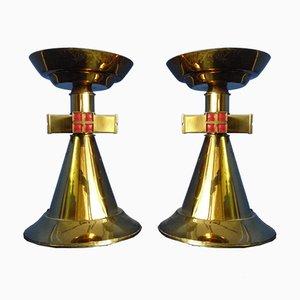 Candeleros de iglesia de latón de Andreas & Barbara Kühner, 1956. Juego de 2