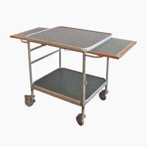 Industrieller vintage Servierwagen aus Metall, Linoleum & Holz
