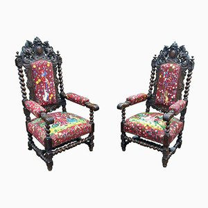 French Oak Armchairs with Tapestry Upholstery, 1900s, Set of 2