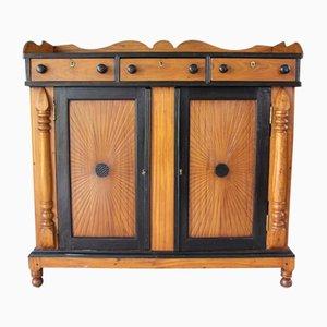 Mueble auxiliar antiguo de madera satinada