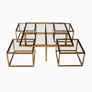 Mesa de centro italiana vintage de latón con mesas nido