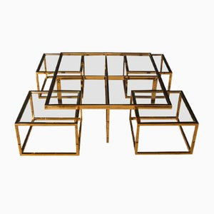 Vintage Italian Brass Coffee Table with Nesting Tables