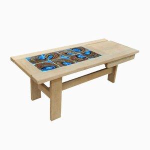 Table Basse en Chêne avec Plateau Carrelé par Guillerme & Chambron pour Votre Maison, 1950s