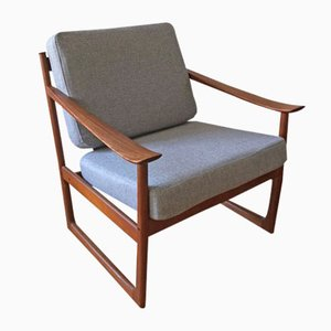 Danish FD 130 Teak Easy Chair by Peter Hvidt & Orla Mølgaard-Nielsen for France & Søn, 1960s