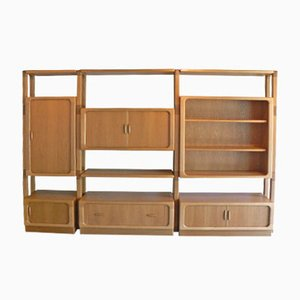 Large Oak Wall Unit with Sliding Doors from Dyrlund, 1980s
