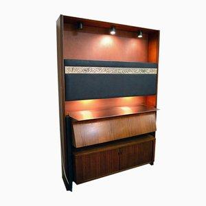 Mueble bar de palisandro con lámparas y espejos de Osvaldo Borsani para Tecno, años 50