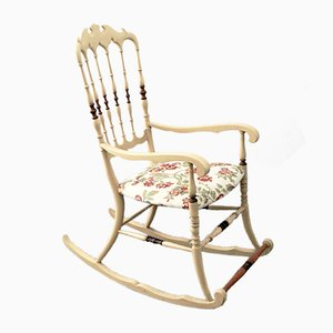Rocking Chair Chiavarina Vintage en Frêne Clair avec Assise en Damas, 1950s