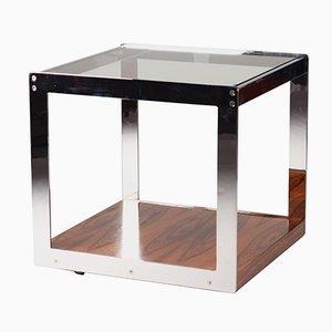 Mid-Century Palisander Chrom & Glas Beistelltisch von Richard Young für Merrow Associates