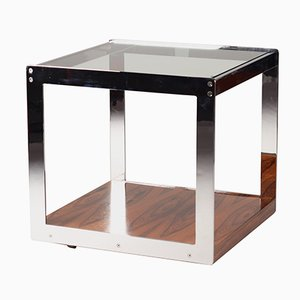 Table d'Appoint Mid-Century en Palissandre, Chrome et Verre par Richard Young pour Merrow Associates