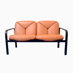Leather and Painted Steel Two-Seater Sofa by Vico Magistretti for ICF/Knoll International, 1980s