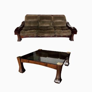 Mahogany and Suede Lounge Set by Luciano Frigerio, 1960s
