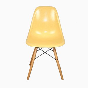 Vintage Ocher DSW Chair by Charles & Ray Eames for Herman Miller