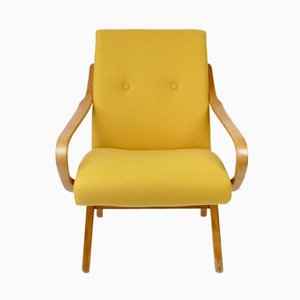 Mid-Century Armchair with Yellow Wool