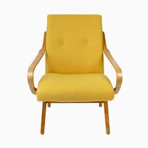 Mid-Century Sessel in gelber Wolle