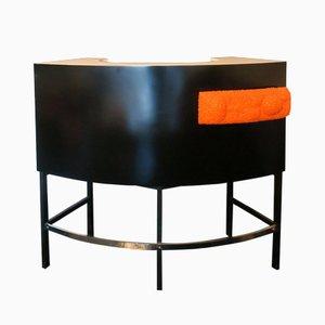Mueble bar de cóctel de madera lacada y patas de acero en naranja claro, años 60