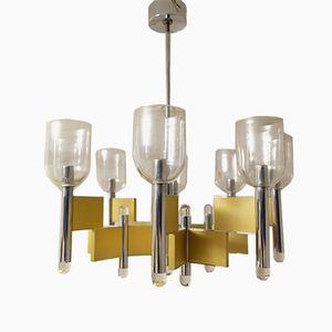 Mid-Century Geometric 8-Light Chandelier by Gaetano Sciolari